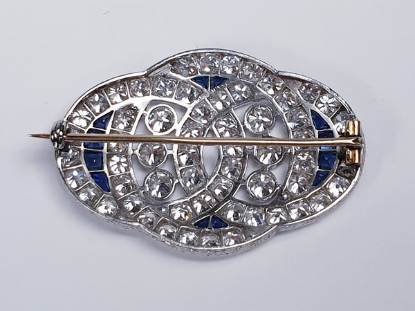 Art Deco Sapphire and Diamond Brooch  DBGEMS - image 2