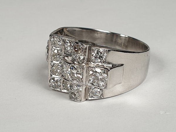 Cool sculptural architectural diamond art deco ring  DBGEMS - image 5