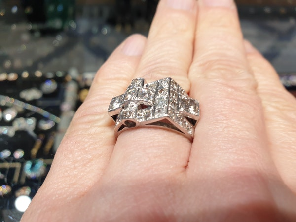 Cool sculptural architectural diamond art deco ring  DBGEMS - image 3