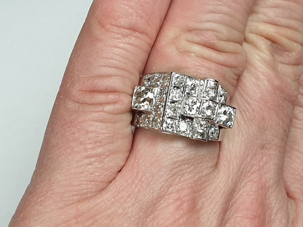 Cool sculptural architectural diamond art deco ring  DBGEMS - image 2