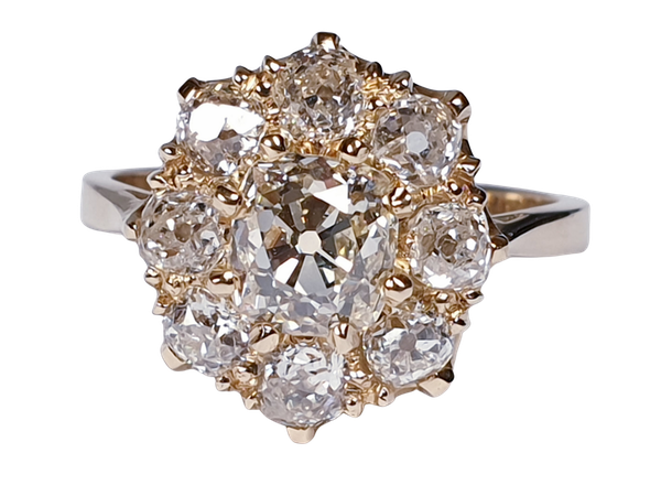 Antique old cut diamond cluster engagement ring  DBGEMS - image 6