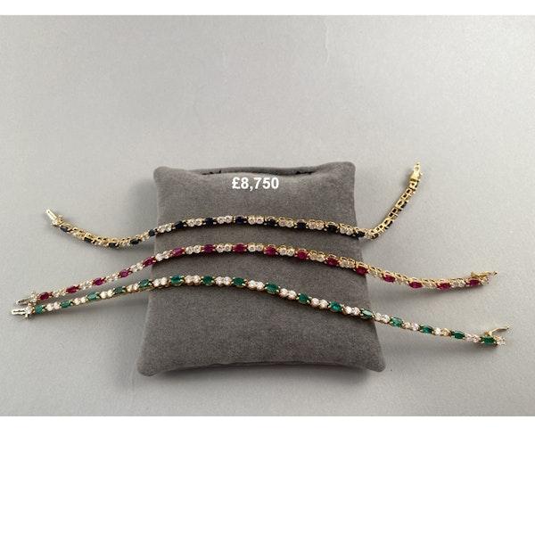 1970's, 18ct Yellow Gold, Ruby,Sapphire,Emerald and Diamond 3 Bracelets, SHAPIRO & Co since1979 - image 2