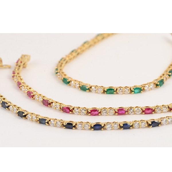 1970's, 18ct Yellow Gold, Ruby,Sapphire,Emerald and Diamond 3 Bracelets, SHAPIRO & Co since1979 - image 7