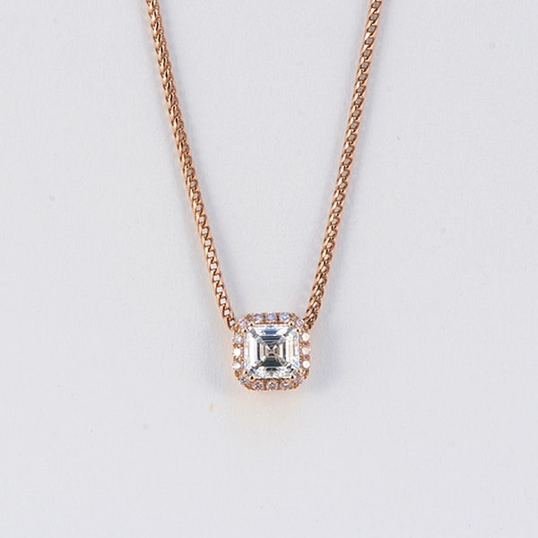 Date:London 2016, 18ct Rose Gold Asscher Cut & Fancy Light Pink Diamond stone set Pendant, SHAPIRO & Co since1979 - image 7