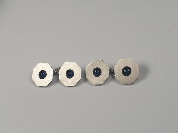 Heavy Platinum & Sapphire Cufflinks  DBGEMS - image 2