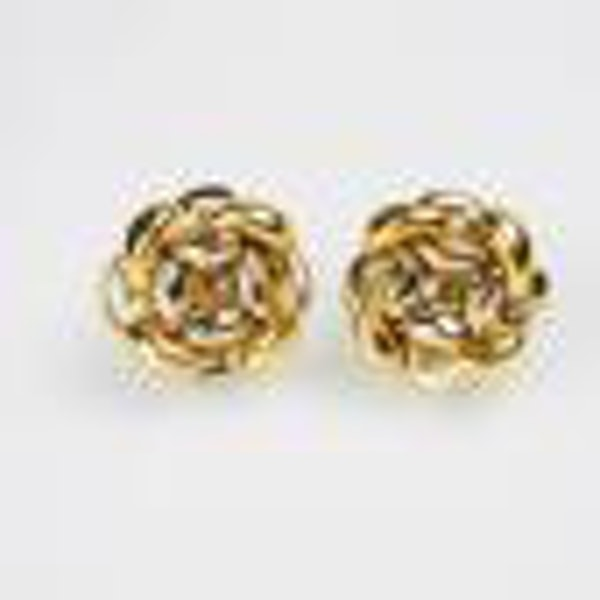 Two Colour 18ct Gold Knot Earrings  DBGEMS - image 2