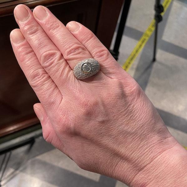 1970's, Bombé 18ct White Gold Diamond stone set Ring, SHAPIRO & Co since1979 - image 2