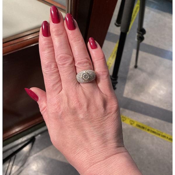 1970's, Bombé 18ct White Gold Diamond stone set Ring, SHAPIRO & Co since1979 - image 3