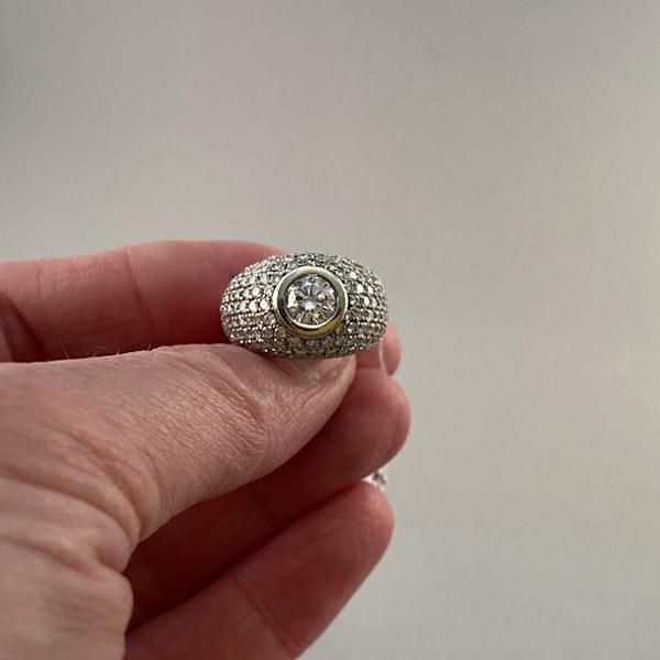 1970's, Bombé 18ct White Gold Diamond stone set Ring, SHAPIRO & Co since1979 - image 5