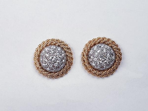 1960's pave diamond earrings  DBGEMS - image 2