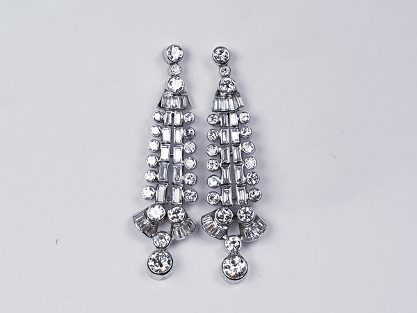 Diamond and Baguette Diamond Drop Earrings  DBGEMS - image 2