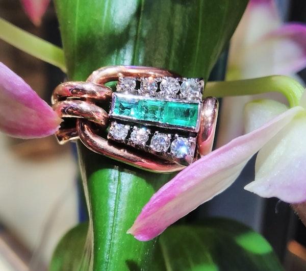 Retro Emerald and Diamond Ring - image 2