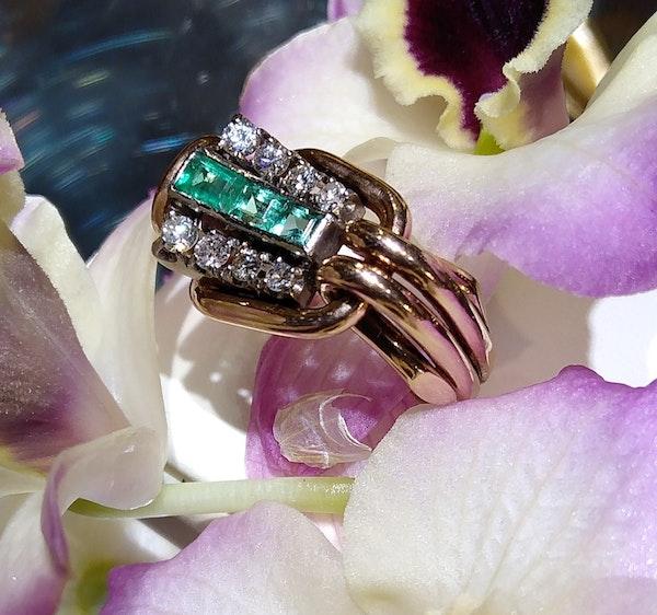 Retro Emerald and Diamond Ring - image 4