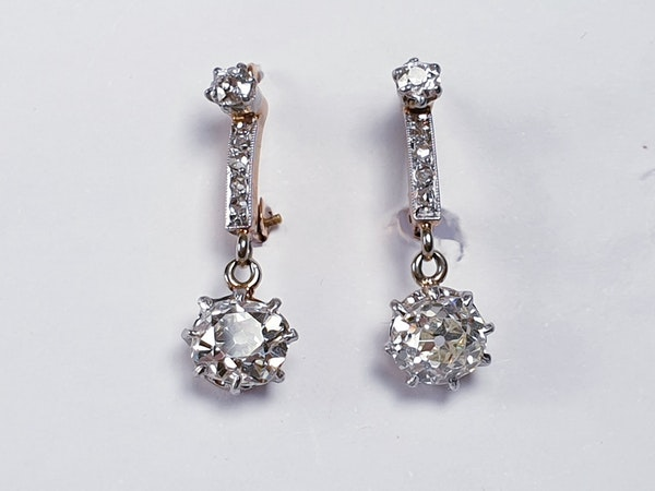 Pair of antique diamond drop earrings  DBGEMS - image 2