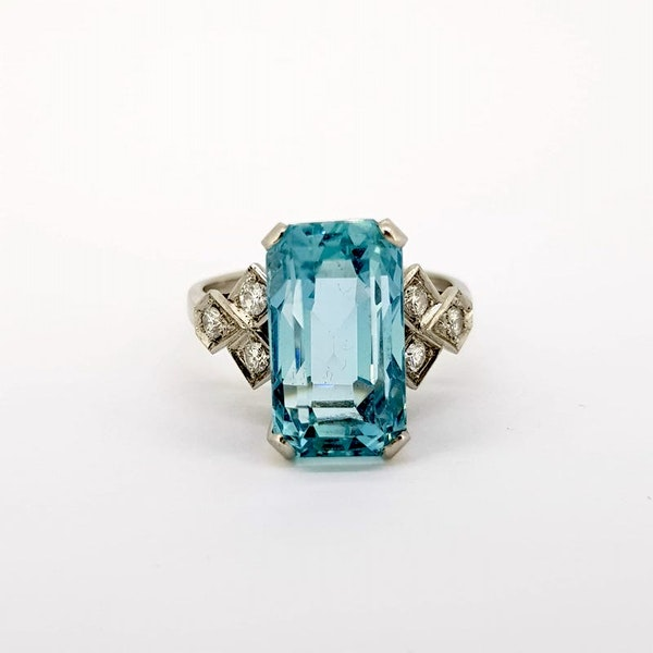 1950's Aquamarine and Diamond ring - image 3