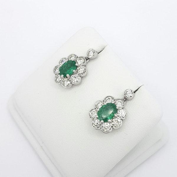 Emerald and Diamond drop earrings - image 2