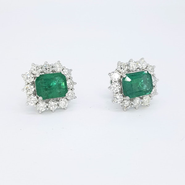 Emerald and Diamond Cluster Earrings - image 2