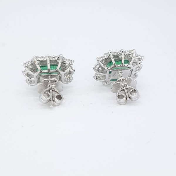 Emerald and Diamond Cluster Earrings - image 3