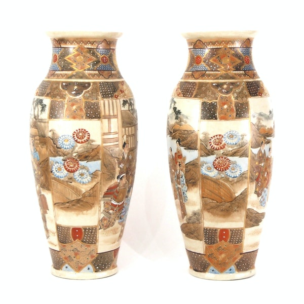 Pair Japanese Satsuma vases with decoration of wealthy figures - image 11