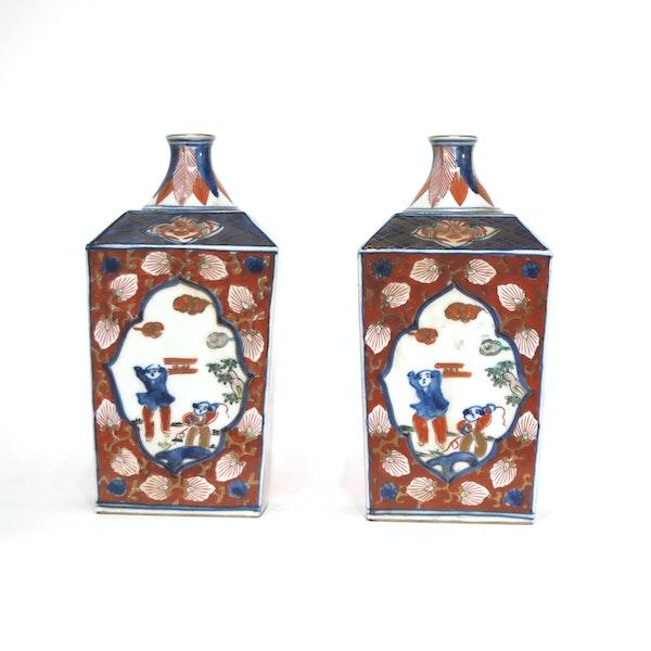 Pair Japanese imari square vases - image 4