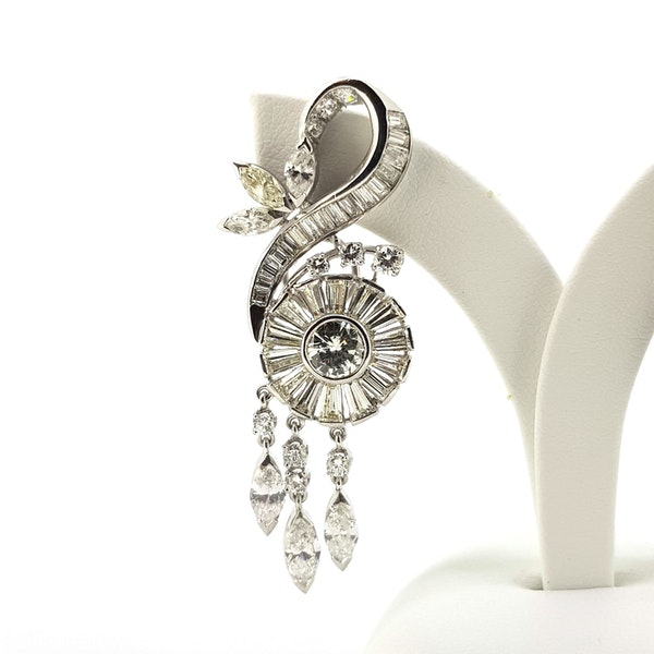 1950's Scroll Diamond Earrings - image 2