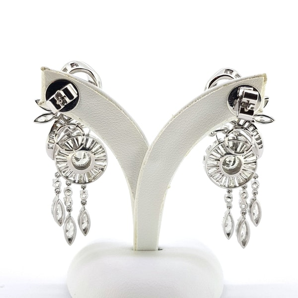 1950's Scroll Diamond Earrings - image 4