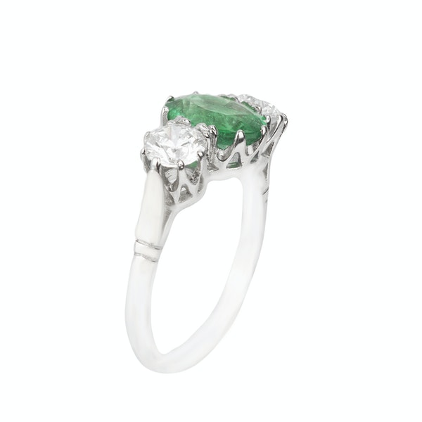 Emerald and diamond platinum trilogy engagement ring - image 2