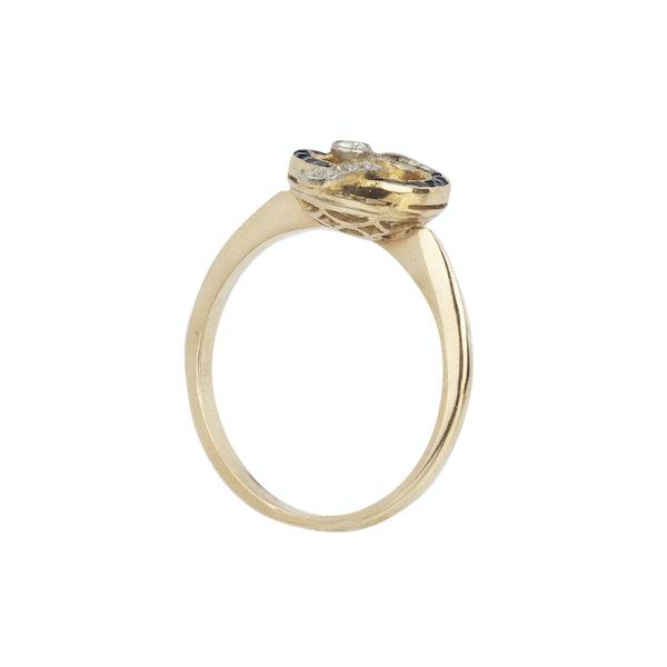 Art deco 18ct yellow gold sapphire diamond ring Spectrum Antiques - image 2