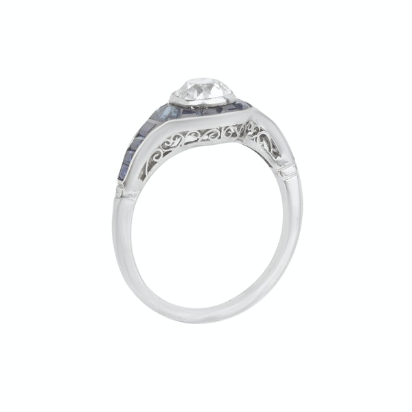 Engagement ring. Sapphire and diamond Art Deco tapered ring. Spectrum - image 2