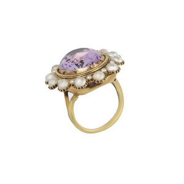 Extra large amethyst and pearl cocktail ring. Spectrum - image 2