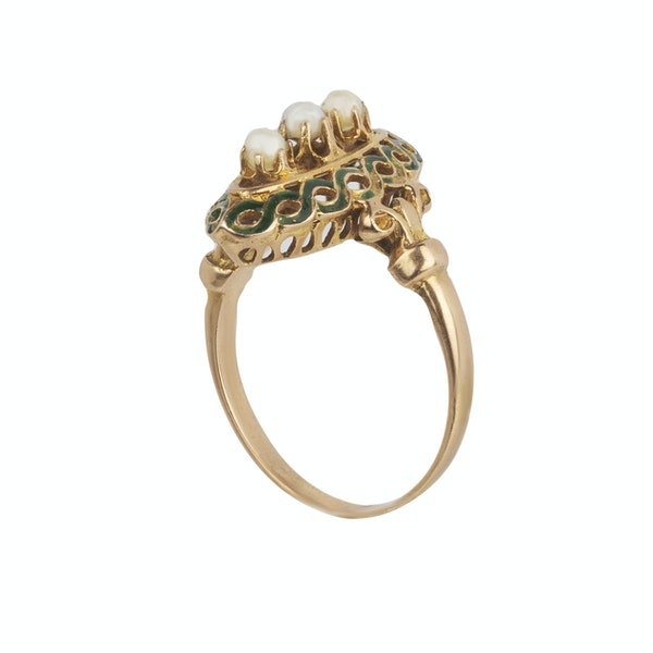 Victorian Pearl and enamel 18ct gold marquise ring - image 2