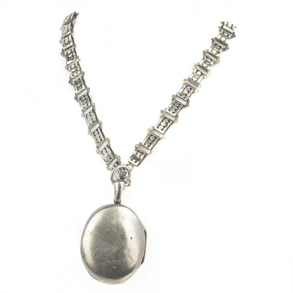Victorian silver collar necklace and locket - image 2