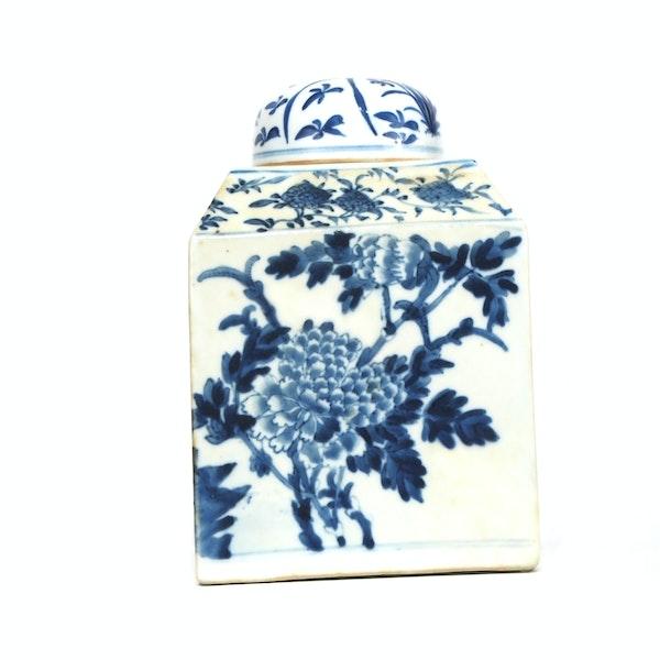 Pair Chinese blue and white tea jars - image 5