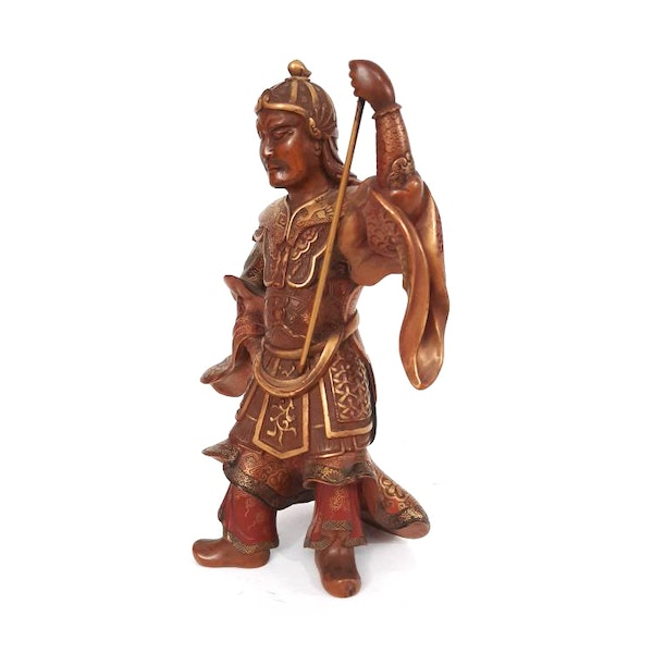 Japanese wood and lacquer figure - image 2
