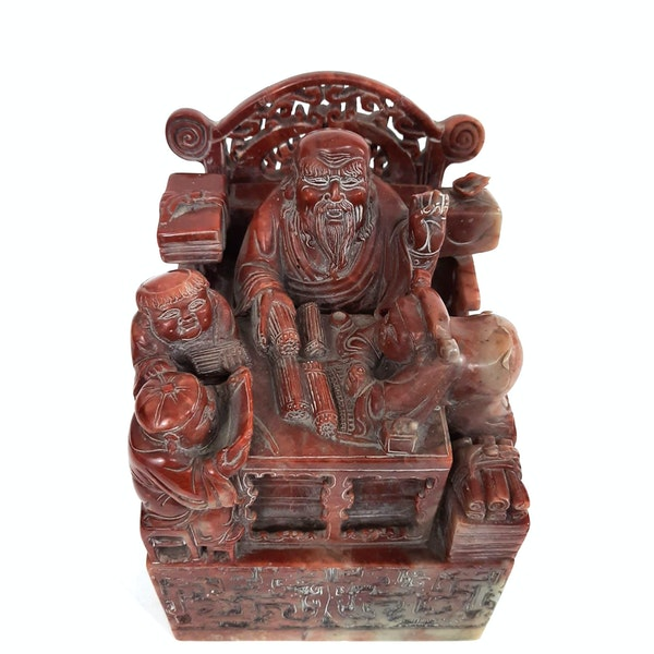 Large Chinese soapstone seal - image 1