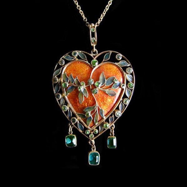 Fredrick James Partridge. An Arts & Crafts / Art Nouveau gold, enamel and plique-a-jour pendant. - image 1