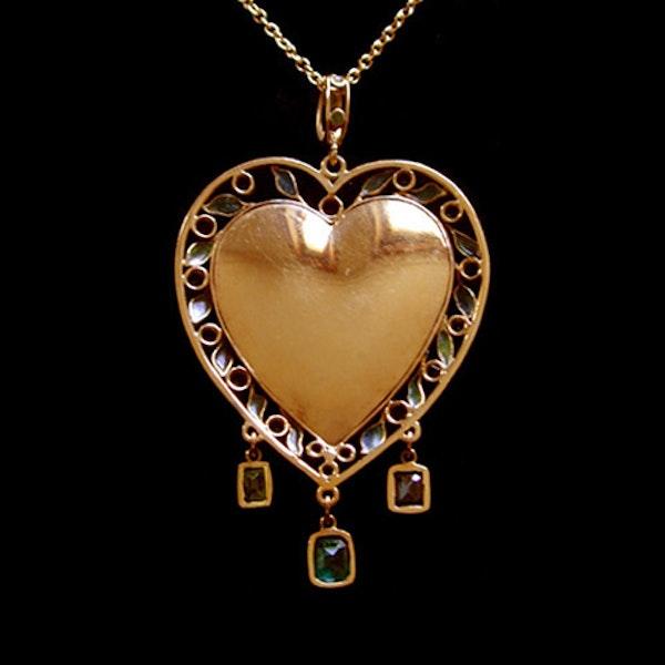 Fredrick James Partridge. An Arts & Crafts / Art Nouveau gold, enamel and plique-a-jour pendant. - image 2