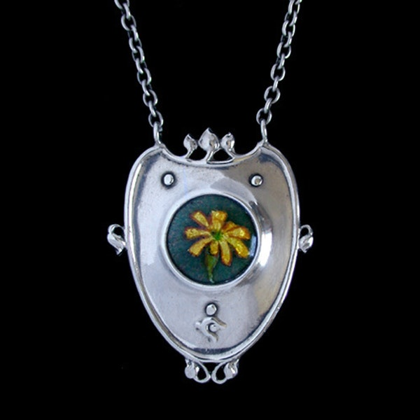 Nelson & Edith Dawson. An Arts & Crafts / Art Nouveau silver and enamel pendant. - image 1