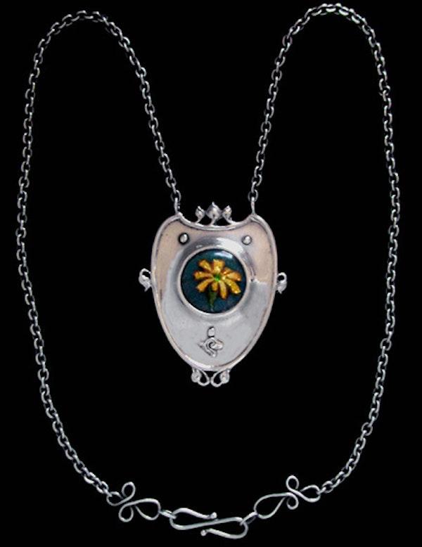 Nelson & Edith Dawson. An Arts & Crafts / Art Nouveau silver and enamel pendant. - image 2