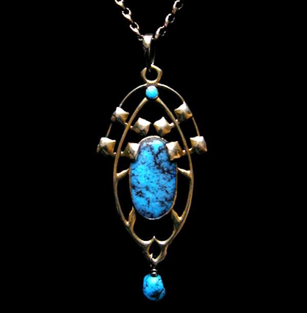 Archibald Knox for Liberty & Co. An Arts & Crafts / Art Nouveau Gold turquoise pendant. - image 1
