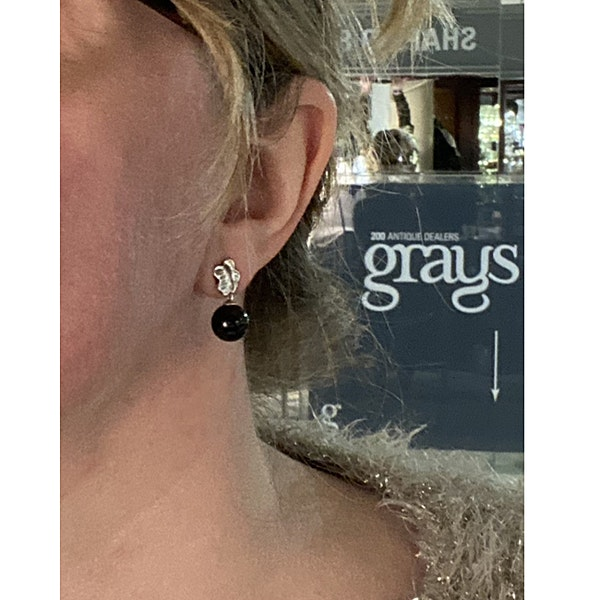 Date: circa 2000, Georg Jensen Silver & Onyx Earrings, SHAPIRO & Co since1979 - image 3