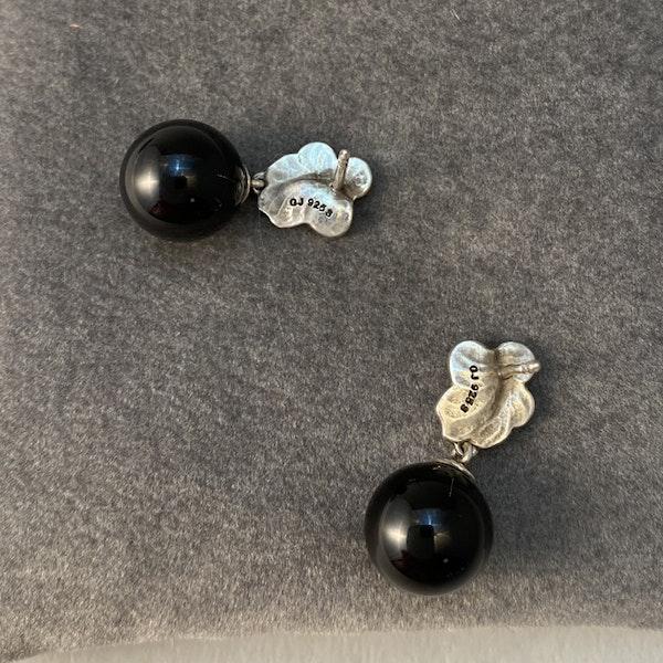 Date: circa 2000, Georg Jensen Silver & Onyx Earrings, SHAPIRO & Co since1979 - image 5