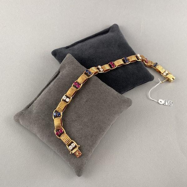 1950's, BOUCHERON 18ct Yellow Gold Diamond, Ruby and Sapphire stone set Bracelet, Shapiro&Co since1979 - image 5