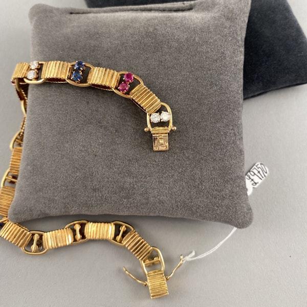 1950's, BOUCHERON 18ct Yellow Gold Diamond, Ruby and Sapphire stone set Bracelet, Shapiro&Co since1979 - image 6