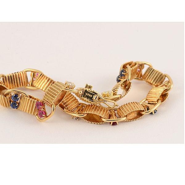 1950's, BOUCHERON 18ct Yellow Gold Diamond, Ruby and Sapphire stone set Bracelet, Shapiro&Co since1979 - image 9