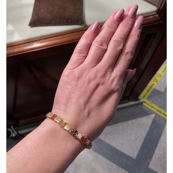 1950's, BOUCHERON 18ct Yellow Gold Diamond, Ruby and Sapphire stone set Bracelet, Shapiro&Co since1979 - image 2