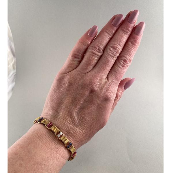 1950's, BOUCHERON 18ct Yellow Gold Diamond, Ruby and Sapphire stone set Bracelet, Shapiro&Co since1979 - image 3