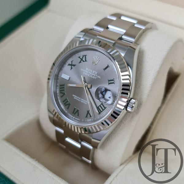 Rolex Datejust 41 126334 Slate Roman Wimbledon Dial Oyster - image 3