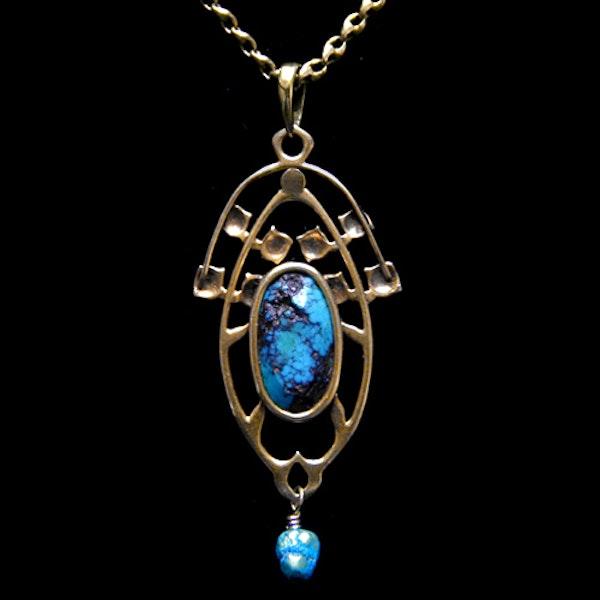 Archibald Knox for Liberty & Co. An Arts & Crafts / Art Nouveau Gold turquoise pendant. - image 2