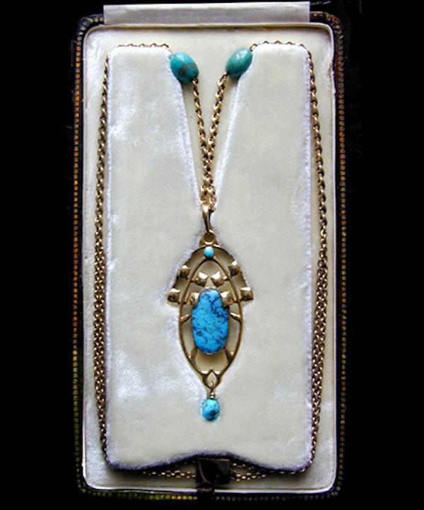 Archibald Knox for Liberty & Co. An Arts & Crafts / Art Nouveau Gold turquoise pendant. - image 3